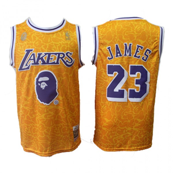 Cheap LA Lakers LeBron James Throwback NBA Jersey Joint BAPE Sale b822f3202