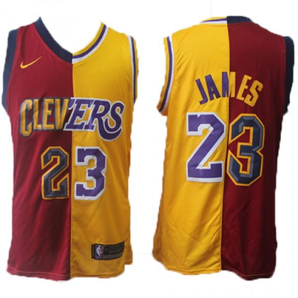 e96b1a09eea Cheap Lebron James Split Lakers Cavaliers NBA Red Gold Jersey