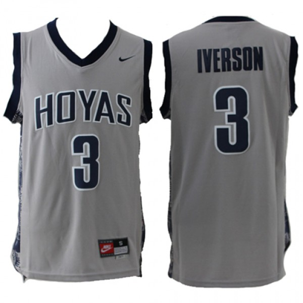 f7fc060320e Cheap NCAA Georgetown Hoyas Allen Iverson Jersey Grey For Sale