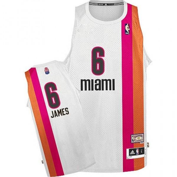 a773b01424d Lebron James Miami Heat Floridian ABA Retro Jersey White Cheap ...