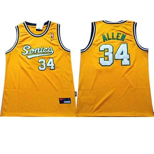 super popular 6f058 4fdb5 Cheap Ray Allen Throwback Seattle Supersonics Yellow ...